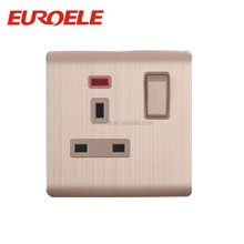 British standard champagne gold aluminum faceplate 13A 3 pin wall switch and socket with neon