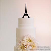 Eiffel Tower Silhouette Romantic wedding theme decorations Acrylic Cake Topper