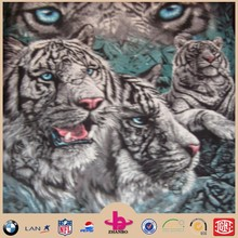 12 white tiger coloful print polar fleece blanket