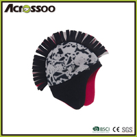 Fashion polyester polar fleece printed earflap hat, double layers micro fleece beanie hat with earflap