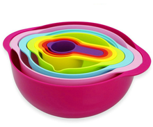 Measuring Tools Rainbow color Plastic 8pcs Mixing Bowl set,measuring cups/L# ,S# ball bowls /sieve/dish drainer basket