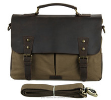 9013N Fashion Canvas And Leather Travel Shoulder Bag Fit For Office Man Army Green Color