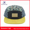 custom snapback leather patch logo 5 panel hat wholesale suede brim 5 panel cap hat with leather strap back 5 panel hat