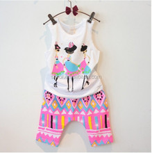 2015 South Korean children kids girls summer cool new money printing sleeveless vest shorts set