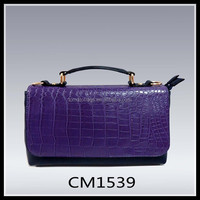 Purple 2015 Winter Croco PU Leather Fashion Women Business Bag