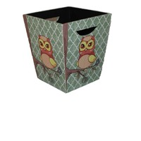 Small Owl wooden container ,wood ash-bin