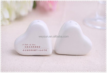 """Wedding Favors Gifts of """"A Dash of Love"""" White Ceramic Heart Salt and Pepper Shakers Wedding Shower party gifts"""