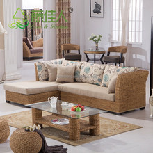 Nice Design Hand Woven Classic Water Hyacinth Seagrass Natural Rattan Wicker Living Room Furniture L Shape Sectional Sofa Set