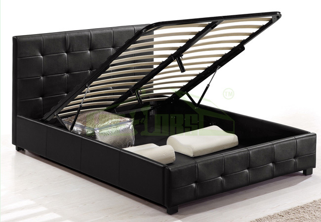 001 queen bed frame lift storage bed view storage bed for Double bed with box design