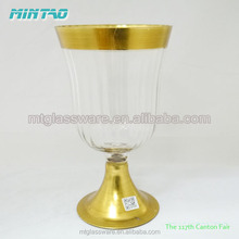 Mintao Prom glass hurricane candle holder with golden ring for holiday