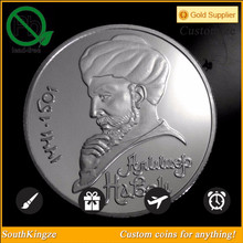 Chic man sculpture metal material coin for promotional gifts