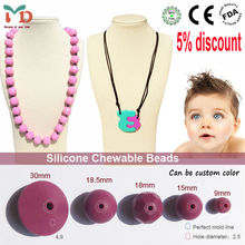 2015 silicone baby jewelry, chew bead silica gel
