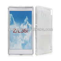 Mobile phone complete transparent soft gel silicon protective case for sony Z L36H