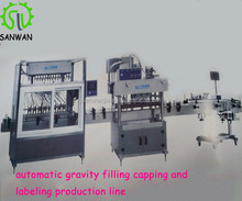automatic gravity filling capping and labeling production line