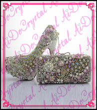 Aidocrystal hight quanlity wholesale crystal matching shoes and bag set for party/wedding