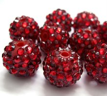 Promotion 2012!!AAA pave Resin ball beads!!Rhinestone pave resin beads 20MM Red color!!