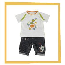 2014 bebé niños ropa t nuevo diseño de camisas y pantalones vaqueros pantalones conjuntos