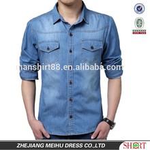 2015 new arrival men denim casual shirt , mens jeans shirt