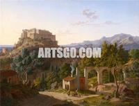 Landscape with the Castle of Massa di Carrara, 1827 By Leo von Klenze Neoclassicism Decorative Painting