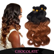 Top quality Chocolate Human Hair Extension Chocolate ombre color black/brown real hai no chemical hair