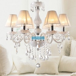 Modern White Cristal Chandelier Lighting for Sale , 100% K9 Crystal Pendants and 3 Year Warranty CCSPBG6801-8