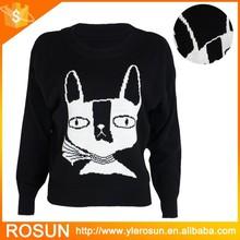 Women Batwing Sleeve Cat Prints Knitted Jumper Sweater