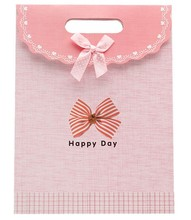 customized wholesale sweet pink paper packaging bag/shopping bag for gift with velcro