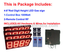 LED Oil Price Display/ 8 inch-4 unit Complete Package w/ RF Remote Control