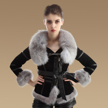 style hot selling Korean ladies double faced fur coat sheepskin leather jacket with fox fur collar and lambskin fur coat