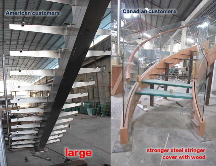 Popular Villa Wrought Iron Stair Steel Wood Stairs