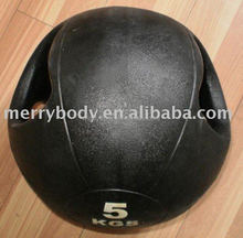 Natural rubber Medicine Ball with handles /rubber weighted ball / Wall ball