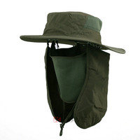 Boonie Fishing Hiking Army Military face Ear neck Flap Snap Bucket Sun Hat With Neck Cover