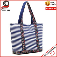 Striped Canvas Fashion Tote Bag With Flower Handle And Bottom