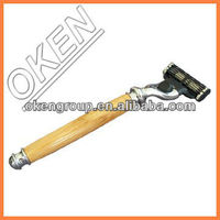 3 blade or 5 blade razor with long wooden handle and double edge silver color head