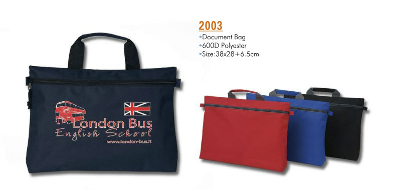Wholesale cheap polyester zippered promotional conference document bag