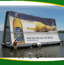 Floating on water inflatable billboard for advertising