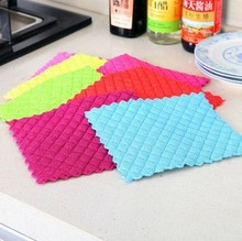Kitchen Essential Microfiber Anti-Greasy Anti-Bacteria Super Absorbent Kitchen Scouring Pad Dish Washing Cleaning Cloth
