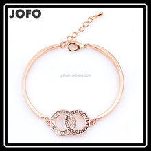 Ladies Rhinestone Double Circle Hinged Lacquered Bangle Mother's Day Gift JDJ0039