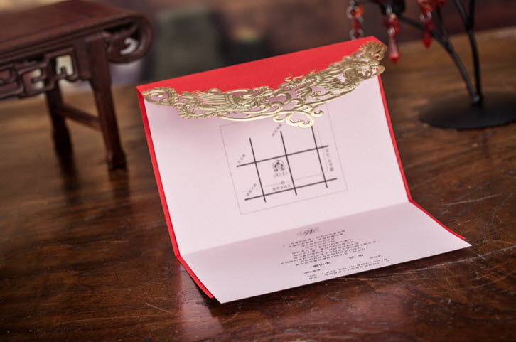 Red Chinese Dragon And Phoenix Wedding Invitations Cards With Envelopes Seals