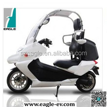 Electric motorcycle with roof, windscreen and rear trunk, EG6011BB