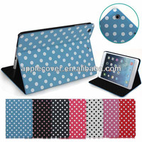 Girl Style Polka Dot Leather Case for Apple iPad Mini 1/2 /3 Front & Back Protective Case with Stand , for iPad Mini