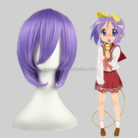 Wholesale 35cm Short Straight Lucky Star Hiiragi Tsukasa Light Purple Wig Synthetic Anime Cosplay Hair Wigs001E