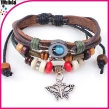 Wooden ball butterfly style restoring ancient ways euramerican popularity hand woven bracelets