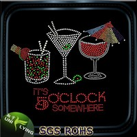 It's 5 o'clock somewhere rhinestone wine glass hotfix motif designs
