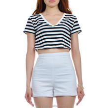 Custom Ladies Crop Top 2015 Woman Cotton Stripes T shirt
