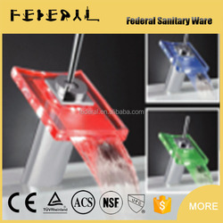 LB-A1 contemporary style chrome plating factory LED glass unique single handle bathroom faucet distributors