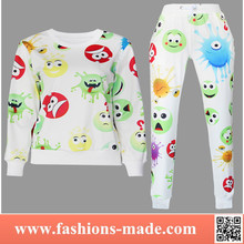 2015 Womens Fashion New Printed Cute Face Sweatshirt Hoodies Sports Suit for Sale