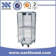4 Wheels Storage Galvanized Wire Roller Trolley,Steel Nesting Cage Cart