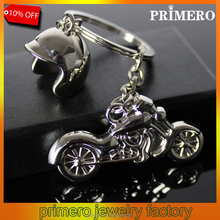 PRIMERO High quality custom creative fashion silver metal motorcycle keychain cool motorcycle shape helmets keychain