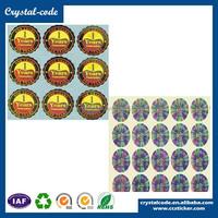 Gold color sheet number warranty transparent hologram sticker
